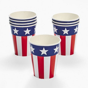 FUN EXPRESS  Patrioic Flags Paper Cups - Package of 8