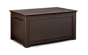 Rubbermaid Patio Chic Plastic Storage Bench Dark Teak Basket Weave 1837304 Patio
