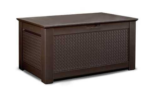 Rubbermaid 1837304 Outdoor Storage Bench with Dark Teak Basket Weave Design