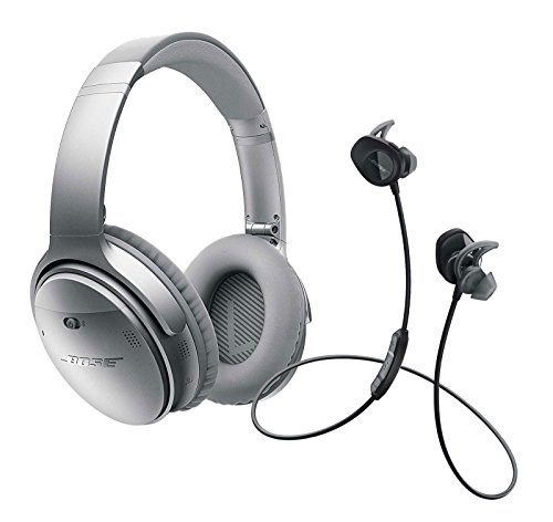 Bose QuietComfort 35 Noise Cancelling Over-ear (Silver) & SoundSport In-ear (Black) Wireless Bluetooth Headphone Bundle