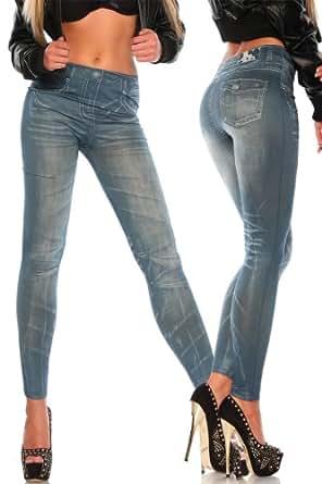 Silamoda - Femme - Legging façon jean effet plis - Unique - Bleu