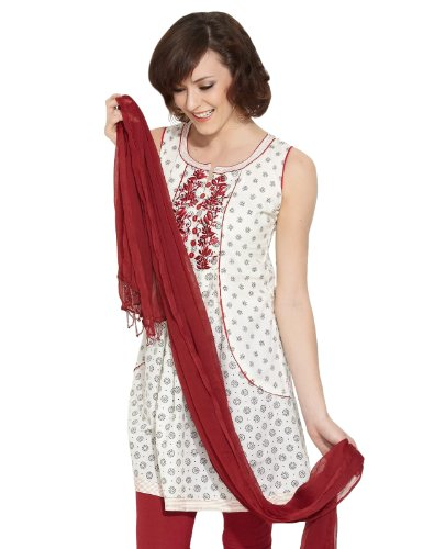 Lovely Lady Women Cotton Natural Elegance Cotton Off White Kurti