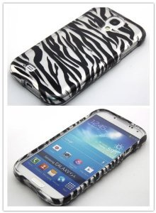 Big Dragonfly High Quality Slim Classic Zebra Print Protective Shell Hard Below Case Cover For Samsung Galaxy S4 Siv I9500 With Sleek Surface Eco-Friendly Package Black Alternate With White (Great Texture) front-945162