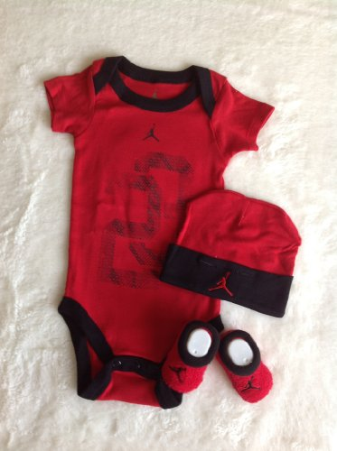 Nike Jordan Infant New Born Baby Lap Shoulder Bodysuit, Booties and Cap; 0-6 Months; Black/Red; With