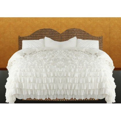 600 Tc 3 Pc Queen / Full Size Waterfall Ruffle Duvet Set In Solid White By Jay'S Home Goods front-339924