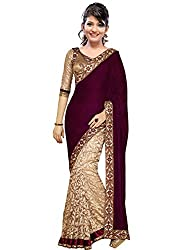 Morpankh enterprise Maroon Velvet & brocket Saree ( velvet maroon )