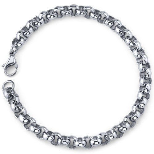 Cool and Classy: Mens Stainless Steel Rolo Link Bracelet Free Shipping