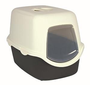 Bac à litière Diego, 40 × 40 × 56 cm, gris foncé/crème, pour chat