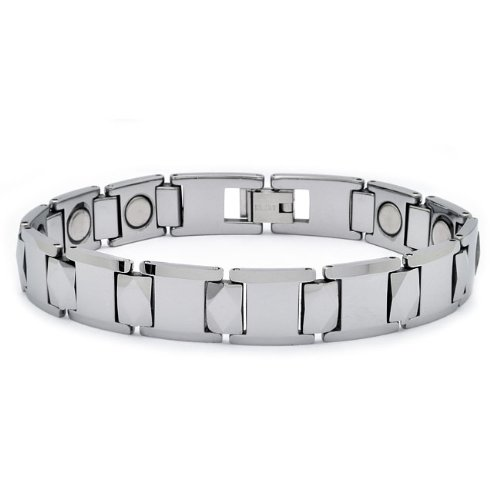 Tungsten Carbide Bio-Magnetic Faceted Link with Diamond Shape Center Links – 12MM 8 Inches