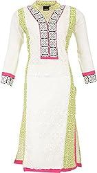 Pahel Creations Women's Synthetic Regular Fit Kurta (Off-White, Large)