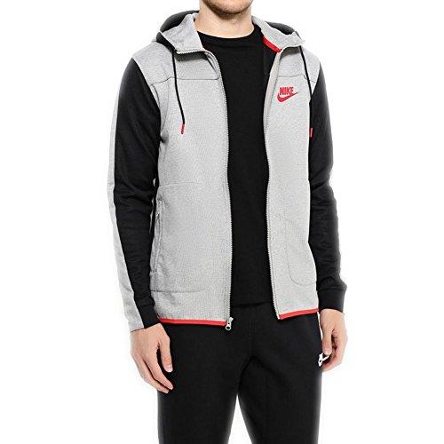 Nike Men's Sportswear Advance 15 Hoodie Dark Grey Heather/Black/University Red 804852-063 (X-Large)