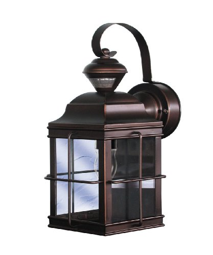 Heath/Zenith SL-4144-AZ-A New-England Carriage-Style 150-Degree Motion-Sensing Security Light, Antique Bronze