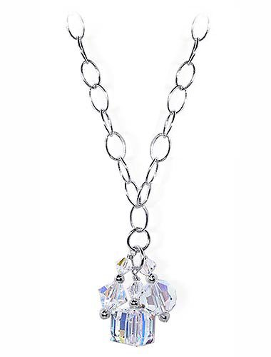 Sterling Silver Clear Crystal Oval Shape Chain Necklace 16 inch Made with Swarovski Elements