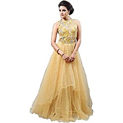 TexStile Womens Fabric Net Gown ( TSG_3_Yellow_Freesize )