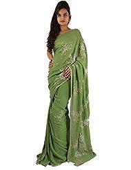 Designer Green Wedding Wear Saree Embroidery Sequins Work Sari