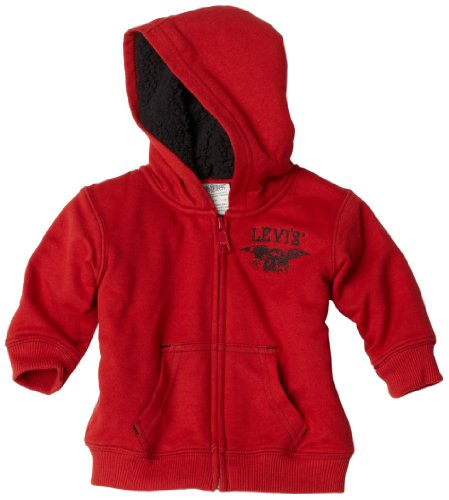 Levi's Baby-Boys Infant Zip Hoodie Sweater, Flash Red, 18 Months