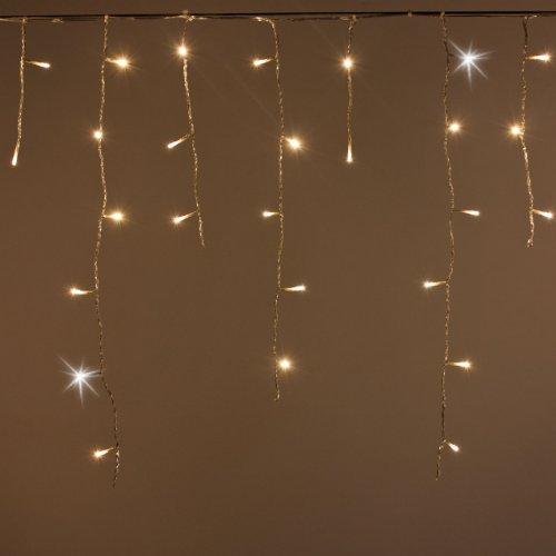 LED Eisregen 3 x 0,5 m, Dauerlichter warmweiß und mit 9 Mini Flashleds kaltweiß, transparentes Kabel, innen und außen, Lichtervorhang, Eiszapfen, Weihnachten, Weihnachtsdekoration