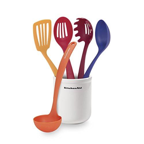 Restaurant Kitchen Utensils: Kitchenaid 5-Piece Kitchen Tool Set With Crock, Flame Home Garden Dining Tools Utensils Utensil Sets
