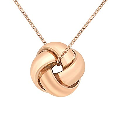 Carissima 9ct Rose Gold 4 Way Knot Pendant on 20PG Diamond Cut 18 Inch Curb Chain of 46cm