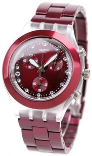 Swatch Unisex Irony Diaphane SVCK4054AG Red Plastic Quartz Watch with Red Dial