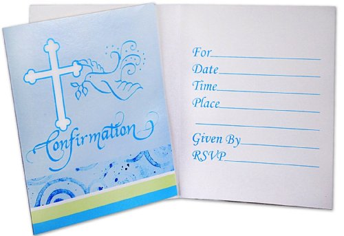 Creative Converting Blue Faithful Dove Invitations, Confirmation, 8 Count