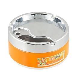 Cylinder Style Cigaretter Holder Smoking Ashtray Orange Silver Tone