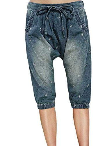 Elf Sack Womens Summer Shorts Post-Wash Small Plane Embroidery Jeans Medium Size