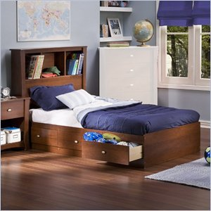 Cheap South Shore Mika Classic Cherry Kids Twin Wood Bookcase Bed 4 Piece Bedroom Set (3268212-4PKG)
