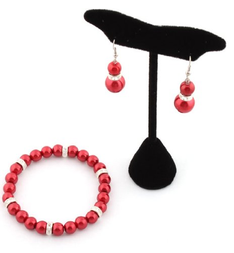 Ladies Metallic Red Pearl Style with Iced Out Rondelle Loops Stretch Bracelet & Matching Earrings Jewelry Set