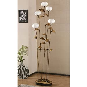 grande lampe salon sensitive 5 branches sur pied papier hanji fleurs asie zen. Black Bedroom Furniture Sets. Home Design Ideas