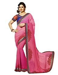 B3Fashion Designer Partywear Georgette Saree In Pink With Embroidered Border