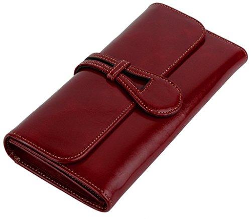 Yaluxe Damen wachsartig Leder Organizer Geldbörse Clutches Geldbeutel mit Münze Reißverschluss Pocket rot
