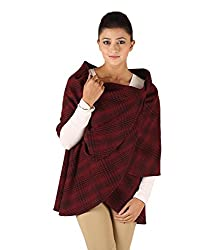 Owncraft Women's Woolen Capes (Own_118_Red_X-Small)