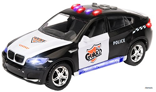 Memtes Electric Police Car Toy for Kids with Flashing Lights and Sirens Sounds, Bump and Go Action (2 Front Doors Open) (Police Car Doors Open compare prices)