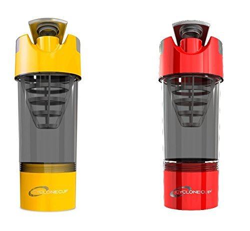 Cyclone Cup Shaker Bottle 20oz - Set of 2 - Yellow and Red