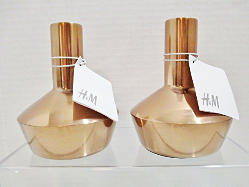 2-hennes-mauritz-h-m-metal-candle-holders-copper-looking-finish-475-in-tall