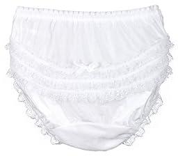 I.C. Collections Little Girls White Nylon Rumba Panties, Size 04