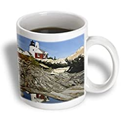 3dRose USA, Maine Pemaquid Lighthouse and Rocky Coast - Brenda Tharp, Ceramic Mug, 15-Oz