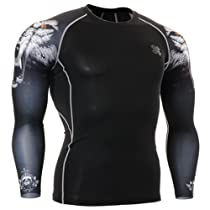 Fixgear Mens Womens Wolf MMA Compression Base Layer T Shirt Long Sleeve M
