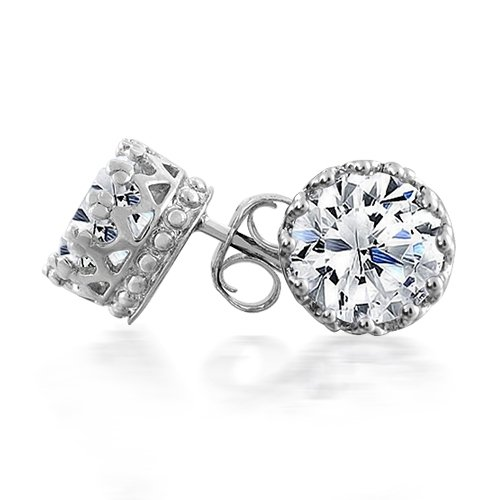 Bling Jewelry Mens Round CZ Crown Stud Earrings 925 Sterling Silver 6mm