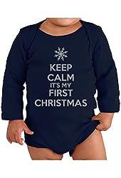 Festive Threads Keep Calm It's My First Christmas Baby Long Sleeve Bodysuit