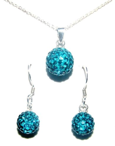 Give a gift with meaning: (BIRTHSTONE FOR DECEMBER) Blue Zircon Swarovski Crystals and Sterling Silver925 Necklace and Drop Earring Set. For other birthstones, please click on Decorumjewellery.