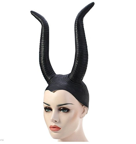 [Black Latex Ox Horn Horror Hat Cap Performance Cosplay Halloween Parties Costume] (Female Centaur Costume)