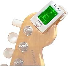 Fender 023-9977-002 FT-004 Clip en afinador electrónico afinador cromático para casi todos los instrumentos blancas