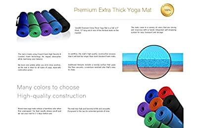 "Yes4All Premium 2/5"" - 1/2"" Extra Thick w/ 68"" / 72"" x 24"" High Density Durable Close-foam Tech. Exercise Yoga Mat w/ Carry Strap - Best Quality In Class"