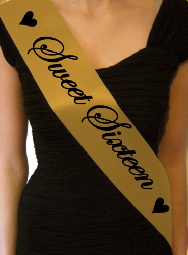 Sweet Sixteen 16th Sash - gift present birthday party decorations - SB1002 - Gold
