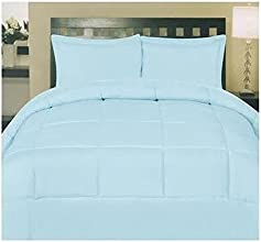 ComfortLiving Down Alternative 8 Piece Embossed Comforter Set - Light Blue Queen
