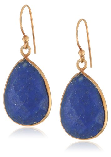 Gold-Plated Lapis Lazuli Teardrop Earrings