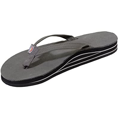 Rainbow Sandals Women's Premier Leather Double Stack Narrow Strap Grey Size Small (5.5-6.5)