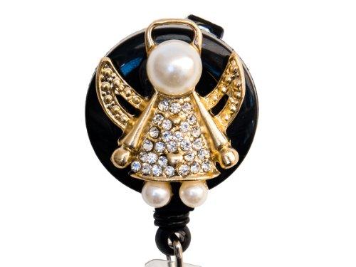 rhinestone-pearl-gold-angel-retractable-badge-reel-bling-id-badge-holder-gold-angel-on-black-reel